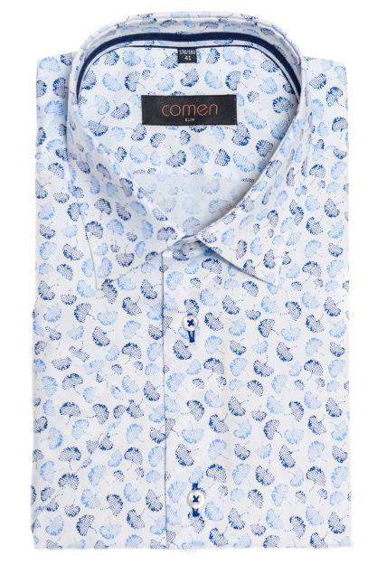Koszula męska w liście krótki rękaw | Koszule męskie | Sklep  0Rc66